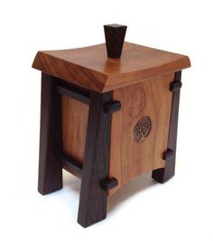 Kovecses Woodworking - Harmony Box Show here is the Harmony from Kovecses Design. Crafted from Caribbean Walnut and Wenge and accented with a Bronze Tree design inlay. This lift off lid box measures a