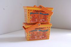Vintage Fisher Price Picnic Baskets by fuzzymama on Etsy, $18.00