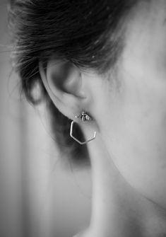 Beehive Ear Jacket PAIR silver double earrings silver front back earring silver ear climbers statement earrings Double Earrings, Gold Hoop Earrings, Crystal Earrings, Statement Earrings, Diamond Earrings, Stud Earrings, Jacket Earrings, Multiple Earrings, Platinum Earrings