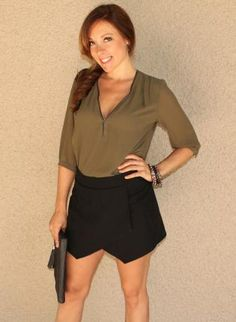 Black Envelope Skort #asymmetrical