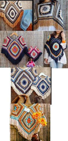 Ponchos tejidos a crochet These would be good if they were a bit longer. Gilet Crochet, Crochet Jacket, Crochet Cardigan, Crochet Shawl, Crochet Stitches, Knit Crochet, Crochet Tops, Crochet Woman, Love Crochet