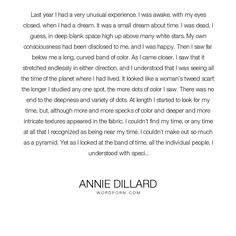 annie dillard essay seeing summary Annie dillard on the art of the essay and the different responsibilities of narrative nonfiction, poetry, and short stories  the two ways of seeing,.