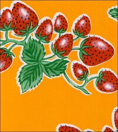 Strawberry Yellow Oilcloth Fabric - oilclothbytheyard.com  can order by the yard.