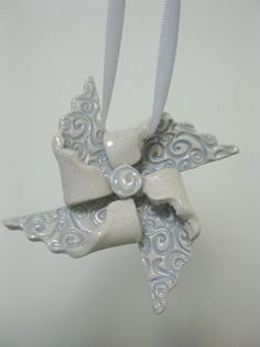 Handcrafted Pin Wheel Ornament Ready To Ship by LisaDPottery, $12.00