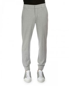 Berluti Banded Cuff Cotton Silk Jogger Pants Gray 54 | Clothing