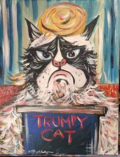 "Donald Trump ""Trumpy Cat"" Original Art Stretched Canvas Vote By Melissa Bollen #Modernism"