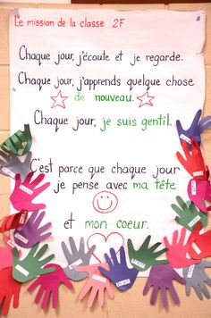 Madame Belle Feuille: Classroom Mission Statements - Questions to guide the process, lots of examples, French and English. French Teaching Resources, Teaching French, Teaching Tools, Teaching Displays, Teaching Reading, Teaching Ideas, Classroom Mission Statement, Mission Statements, Beginning Of School