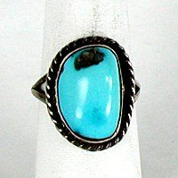 Authentic Native American Vintage Sterling Silver Turquoise ring
