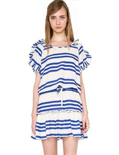 "Who needs a yacht when you have a nautical dress this cute! It is a little white dress with blue stripes all over, with ruffled on hem and sleeves. It also has an elastic waist with shoestring detailing. Fully lined. This summer day dress looks so cute with platform sandals and lots of jewelry. By Lulu's Girl. *100% polyester*38""/96.5cm Bust ,36""/91cm Waist ,31.5""/80cm Length*Model is wearing size small and model's height is 5'10""/178cm."