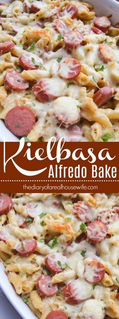This is a dinner my KIDS LOVED! I will be adding this to … Kielbasa Alfredo Bake. This is a dinner my KIDS LOVED! I will be adding this to my menu monthly for sure. Polish Sausage Recipes, Sausage Recipes For Dinner, Smoked Sausage Recipes, Sausage Pasta Recipes, Tortellini Recipes, Supper Recipes, Pork Recipes, Easy Dinner Recipes, Polish Keilbasa Recipes