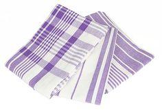 Patterned Purple Tea Towels Set of Three