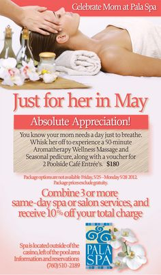 Mothers Day Massage, Mothers Day Spa, Day Spa Specials, Spa Promo, Massage Therapy Rooms, Salon Promotions, Massage Marketing, Spa Prices, Skin Care Spa