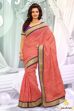 Embellished with lace patti, resham and embroidery works. The net and dhupion made peach and purple designer party wear Saree is very attractive in looks.