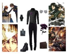 """""""Ereri ( Levi Ackerman)"""" by the-blueglasses ❤ liked on Polyvore featuring Thom Browne, Movado, Mulberry, Timberland, Chanel, Yves Saint Laurent, men's fashion and menswear"""