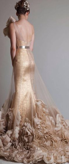 I've always wanted a gold wedding dress. They're so hard to find in styles that I like. Aside from that giant whatever on her shoulder and the excessive frills at the bottom, I like it. I like the idea of this dress