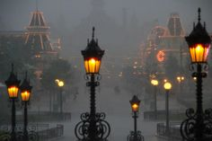 """theblacklacedandy: """" Disneyland during rain, or fog, or darkness is my favorite, it truly looks like a hazy dream. """""""