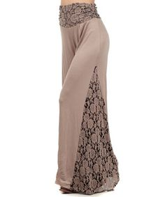 Look what I found on #zulily! Mocha Lace-Trim Palazzo Pants - Women by L & B #zulilyfinds