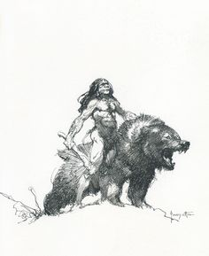 Frank Frazetta - Man and Cave Bear