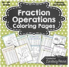 Fraction Operations Coloring Pages Adding And Subtracting Fractions, Dividing Fractions, Math Fractions, Teaching Math, Teaching Ideas, Classroom Organization, Classroom Ideas, Operations With Fractions, Education Major