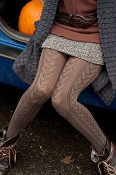 Venya Cable Texture Tights - Plaited cable patterns run down these tights from waistband to solid toes. Grunge Look, Grunge Style, 90s Grunge, Grunge Outfits, Cool Tights, Thick Tights, Fashion Tights, Tights Outfit, Fashion Outfits