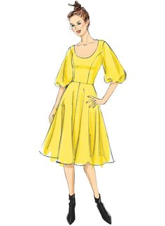 Very Easy Vogue Custom Fit dress sewing pattern. V9265 MISSES' PRINCESS-SEAM, FLARE DRESSES WITH POOF SLEEVES