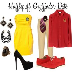"""""""Hufflepuff - Gryffindor Date"""" by christinainreiter on Polyvore"""
