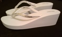 I love these high top flip flops Bridal Flip Flops, White Wedges, Wedge Shoes, High Tops, Swarovski Crystals, Sandals, Trending Outfits, Unique Jewelry, Handmade Gifts