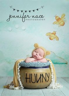 """Disney inspired baby photography Winnie the Pooh """"Hunny"""" Pot with quote above """"Sometimes the smallest things take up the most room in your heart."""