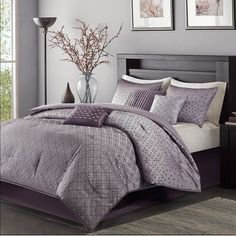 Willa Arlo Interiors Boothby 7 Piece Comforter Set Size: California King, Color: Purple