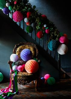 Alternative and easy ways to decorate for Christmas Love the bright and colourful pompom style decorations against the dark decor. Easy ways to decorate for Christmas Scandi Christmas, Christmas Interiors, Noel Christmas, Merry Christmas And Happy New Year, Christmas Paper, Christmas 2019, All Things Christmas, Christmas Crafts, Christmas Ornament