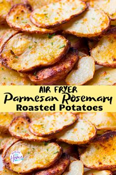 These Parmesan Rosemary Roasted Potatoes are seasoned with garlic, onion, rosemary and Parmesan cheese. They& crispy roasted potatoes that make a delicious side dish for weeknight dinners. This roasted potato recipe only takes 25 minutes to make! Air Fryer Recipes Potatoes, Air Fryer Oven Recipes, Air Frier Recipes, Roasted Potato Recipes, Air Fryer Dinner Recipes, Golden Potato Recipes, Recipes With Potatoes, Air Fryer Potato Chips, Air Fryer Recipes Vegetables