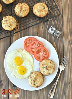 White Cheddar, Sausage Breakfast Biscuits - Low Carb, Gluten Free