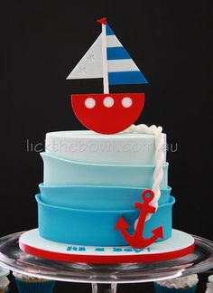 Nautical theme baby shower cake By Lick the Bowl on FaceBook