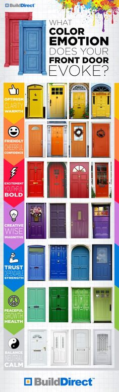 Color and Emotion - Doors are the gateway to your home or business. There really are an infinite number of colors that can be used on a door. But, perception of your home or business begins here. The info graphic is from an update is the US Door & More Blog. It shows some really colorful ideas for your door. Which one is your favorite? #doors #paint