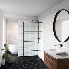 Beautiful master bathroom decor tips. Modern Farmhouse, Rustic Modern, Classic, light and airy bathroom design some ideas. Bathroom makeover a few a few ideas and master bathroom remodel recommendations. Black Tile Bathrooms, Small Bathroom, Black Bathroom Floor, White Subway Tile Bathroom, Metro Tiles Bathroom, Hexagon Tile Bathroom, Modern Bathroom Tile, Minimal Bathroom, Large Bathrooms