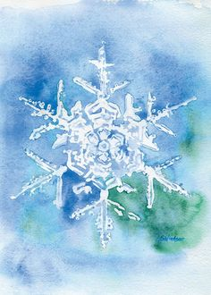 Blue Snowflake watercolor giclée reproduction. Portrait/vertical orientation. Printed on fine art paper using archival pigment inks. This quality printing allows over 100 years of vivid color in a typ