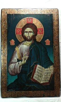 Купить Византийская икона Христа из золота ручная и единственн - золотой, дерево, шедевр, единственный экземпляр Orthodox Icons, Painting, Art, Craft Art, Paintings, Kunst, Gcse Art, Draw, Drawings