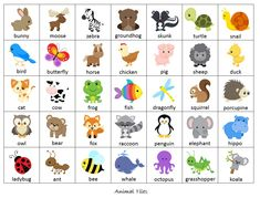 bingo worksheets animals - Buscar con Google