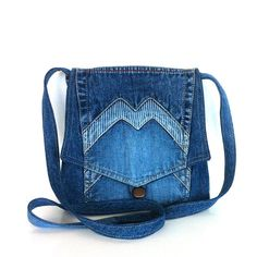 Small cross body bag , recycled jean messenger bag , blue denim cross over purse , Eco friendly bag