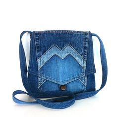 Small cross body bag recycled jean messenger bag by Sisoibags