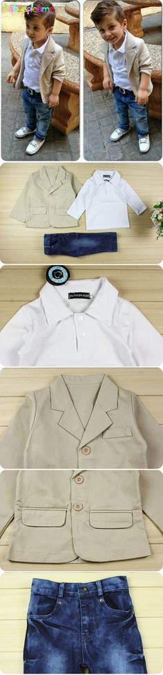 Children suits Kids Fashion Gentleman Boys Clothes Shirt+Jeans+Jacket Baby Set Toddler Boy Clothing Spring Autumn Outfits BC1007