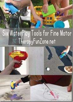 Six Water Play Tools for Fine Motor Work in the Summer! from Therapy Fun Zone. Pinned by SOS Inc. Resources. Follow all our boards at pinterest.com/sostherapy/ for therapy resources.