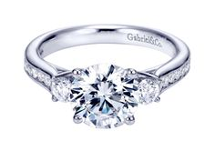 14K White Gold Contemporary 3 Stone Engagement Ring by Gabriel