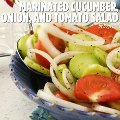 Summertime is the right time for cucumber and tomato salad. This one is dressed with a basic homemade salad dressing. Tomato And Onion Salad, Tomato Salad Recipes, Cucumber Tomato Salad, Cucumber Recipes, Cucumber Salad Vinegar, Onion Recipes, Marinated Cucumbers, Marinated Vegetables, Cucumbers And Onions