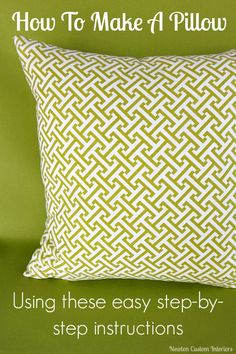 DIY pillows are a fun sewing project that can quickly update a room. Learn how make a pillow with this detailed sewing tutorial that includes video instructions. #newtoncustominteriors #sewingtutorial #videotutorial #pillow #diypillow