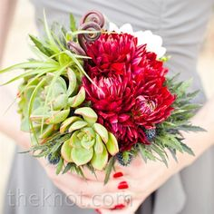 #modern wedding #red wedding #gray weddding Red Dahlias with Succulents Fiddleheads & Thistle