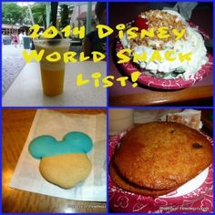 2014 Confirmed Snack Credit list for Disney World