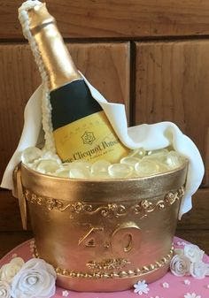 Champagne Bottle Bucket Cake