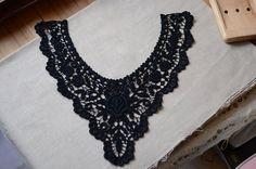 Black Cotton Lace Collar Appliques Vneck Collar by Lacebeauty, $3.99