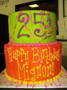 25th birthday paint splatter cake